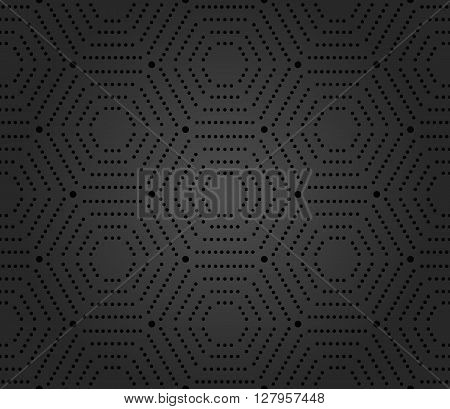 Geometric repeating vector ornament with hexagonal dotted elements. Seamless abstract modern pattern. Hexagonal dark pattern