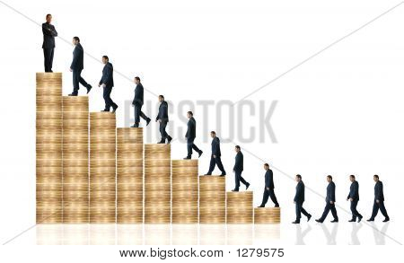 Business Man Walking Up Coin Graph - Financial Success