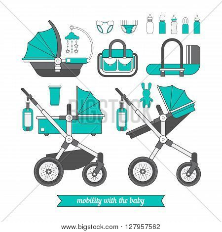 Baby pram. Vector baby carriage set. Different types of transport for children. Coloring for boy and girls. Car seat for baby.