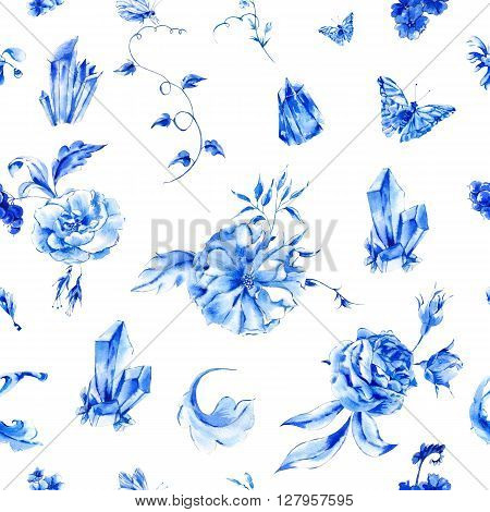 Vintage hand painted seamless pattern with blue watercolor roses, precious crystals and butterflies in boho style, watercolor natural greeting card, decoration blue nature flower background