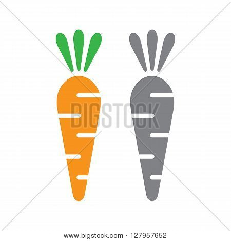 Vector carrot illustration in flat style. Vector carrot isolated on white background. Carrot grey and cloour.