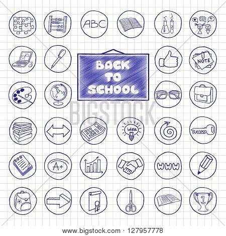 Doodle school buttons. Pen hand drawn vintage effect. Back to school concept.