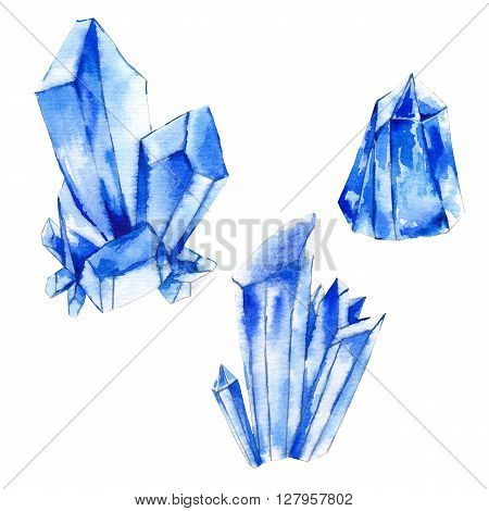 Set of watercolor crystals, natural decoration crystals collection, isolated illustration