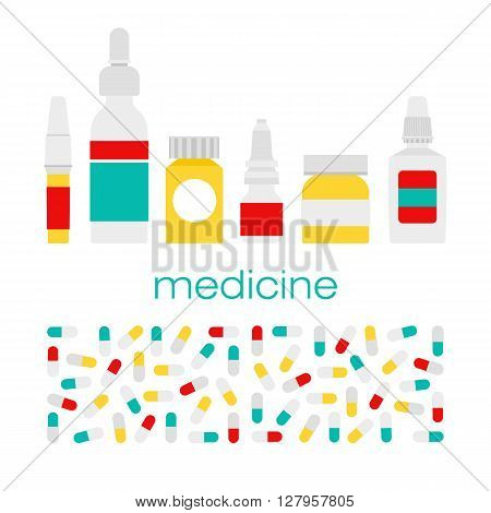 Vector medicine bottles. Medicine pills bottle box. Medicine bottles isolated on light background. Medical vector illustration. Vector pills bottles in flat style.