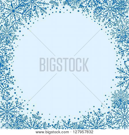 Winter vector greeting card with arabesques and snowflakes. Fine greeting card. Blue greeting card