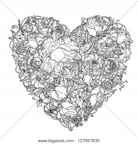 Artistic uncolored  colouring book syle luxury roses  bouquet in heart shape for Adult coloring book in famous zenart style. Hand-drawn, doodle, vector for design, wedding cards, coloring book
