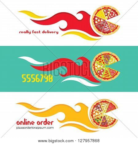 Flat pizza delivery banners. Vector fast food banner. Flat vector pizza express delivery. Vector fast food delivery banner.