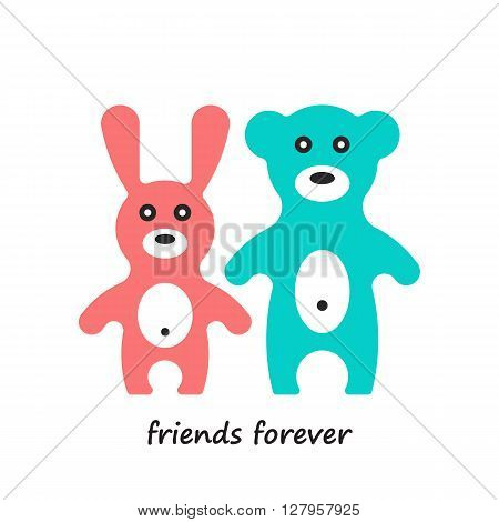 Animals of rabbit and bear. Cute cartoon animals isolated on white background. Vector illustration of adorable animals.