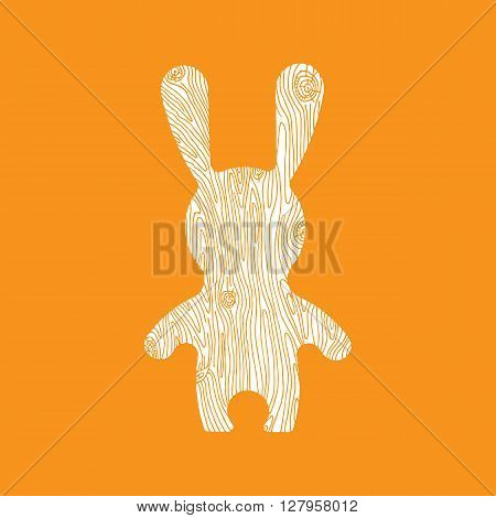 Vectorr rabbit illustration. Adorable hare in flat style. Vector hare icon with wooden texture. Bunny cartoon flat style icons.