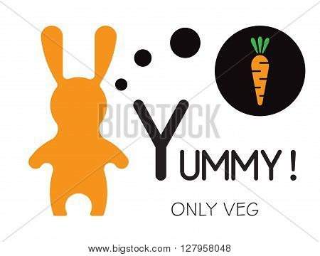 Vector veg illustration. Bunny and yummy carrot. Bunny cartoon flat style icons. Funny bunny easter rabbit. Easter flat rabbit bunny vector.