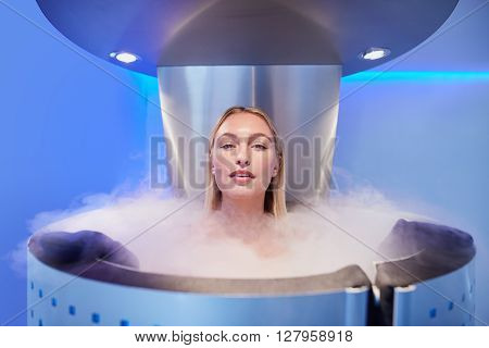 Beautiful Young Woman In Cryosauna Cabin
