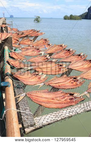 Dried Fish Placed In A Rack Bamboo Tray On Sun Day Light With Sea View, For Sell Dry Fish In The Mar