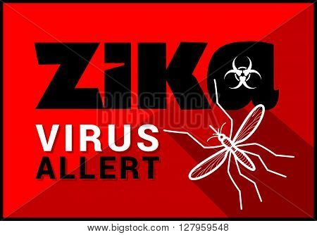 zika virus allert flat vector outline illustration.