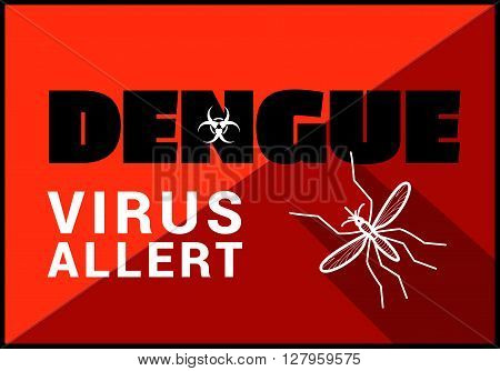 Dengue virus allert flat vector outline illustration.