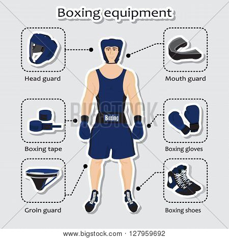 Sport equipment for boxing martial arts with sportsman in the uniform.