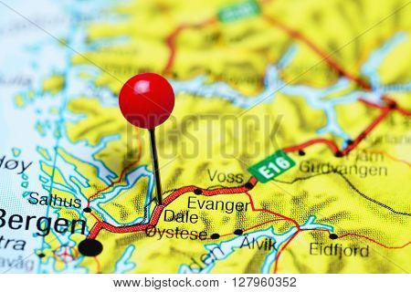 Dale pinned on a map of Norway