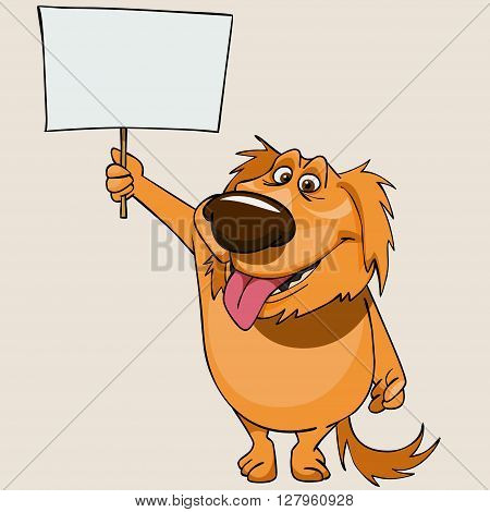 cartoon cheerful dog standing with a blank banner