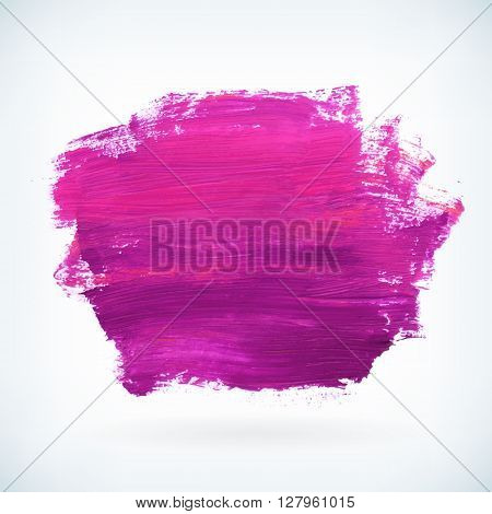 Violet paint artistic dry brush stroke. Watercolor acrylic hand painted backdrop for print web design and banners. Realistic vector background texture