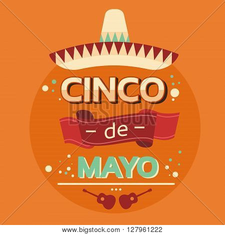 Mexican Traditional Sombrero Guitar, Mexico National Holiday Cinco De Mayo Flat Vector Illustration