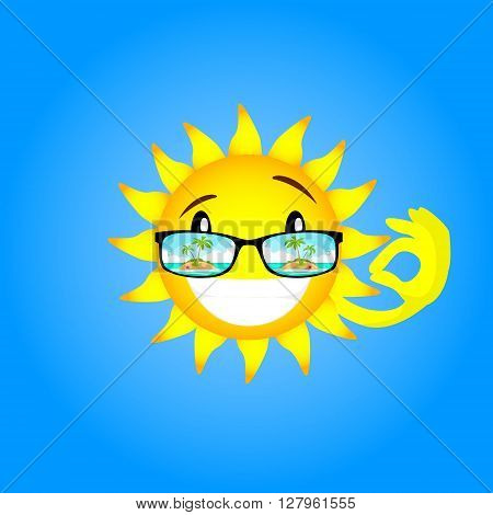 Sun Face Cartoon Character Wear Glasses With Tropical Island View Okay Gesture Flat Design Vector Illustration