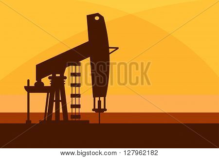 Pumpjack Oil Rig Crane Platform Banner Flat Vector Illustration