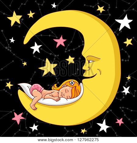 Little girl is sleeping on a large crescent. Vector illustration on a dark background. Beautiful star background. Sweet baby sleep. Beautiful kid.
