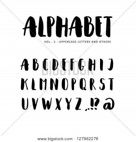 Hand drawn vector alphabet: Sans serif font. Isolated letters written with marker ink. Calligraphy lettering.
