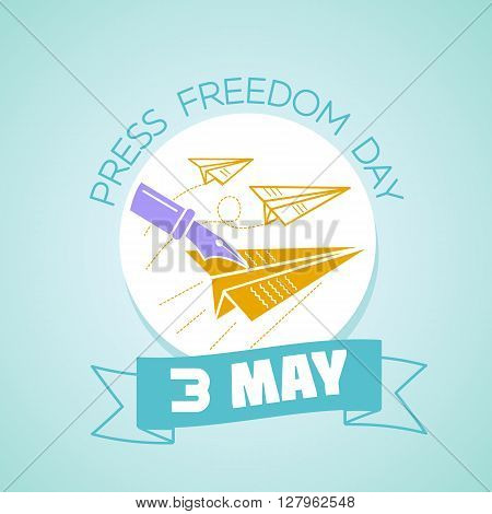 Calendar for each day on may 3. Greeting card. Holiday - Press Freedom Day. Icon in the linear style