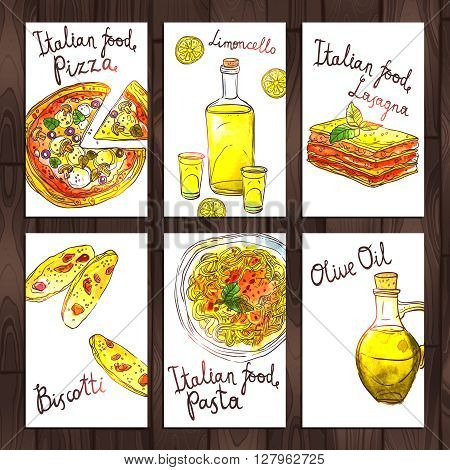 Collection Of Cards With Italian Food. Hand Drawn Watercolor Banners With Pizza, Pasta, Lasagna, Biskotti, Olive Oil And Limoncello On Wooden Background