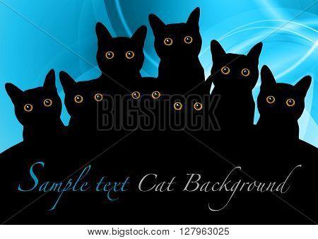 black cats with orange eyes on the blue background