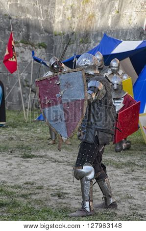 Pisa, Italy - March 26, 2016: Knight ready to duel in historical re-enactment