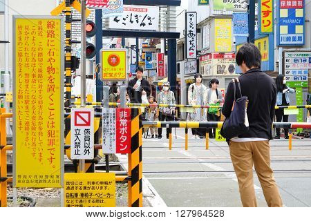 TOKYO - APRIL 1, 2016: Area in front of the Togoshi-ginza station on APRIL1, 2016 in Tokyo. Nearby are Togoshi-Ginza Station on the Tokyo Ikegami Line, the Togoshi Ginza shopping district.