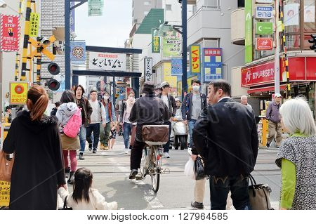 TOKYO- APRIL 1, 2016: togoshi ginza street tokyo Japan, is one of the popular shopping street located in Togoshi, Shinagawa. There are over 400s of shops, restaurants, food stands, stores groceries.