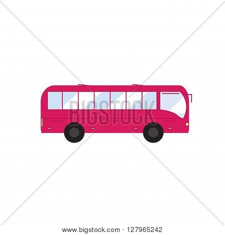 Bus. Icon bus in flat style. Pink bus.