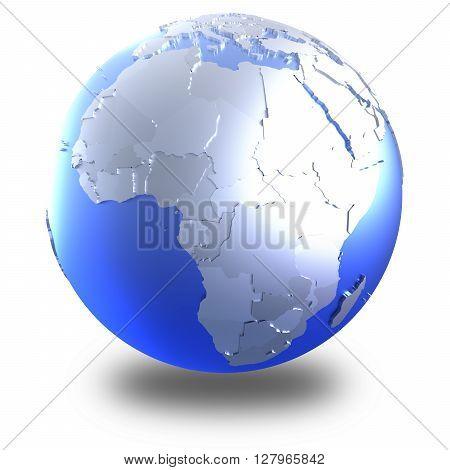 Africa On Bright Metallic Earth