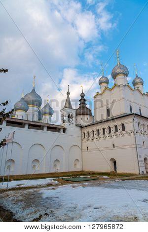 Rostov Veliky, Russia-March 30.2016.  Temples of the Rostov Kremlin, Golden Ring tourist