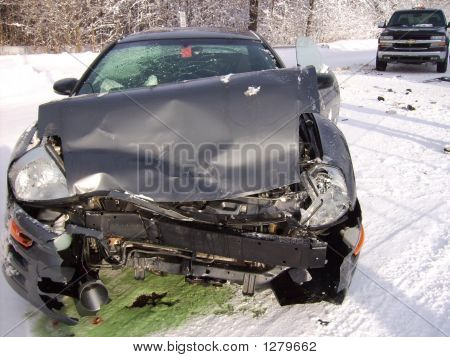 Car Crash On Icy Road