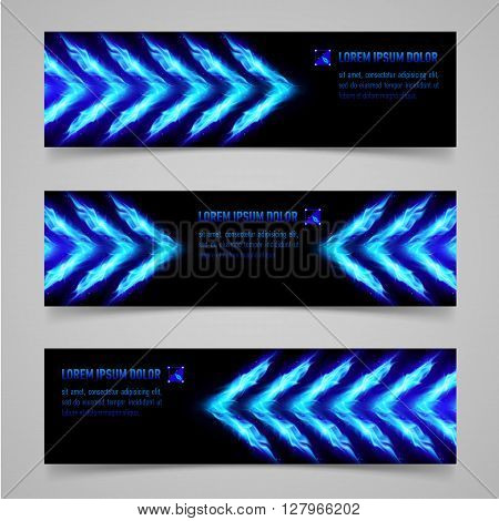 Banners with blue flaming arrows for your design