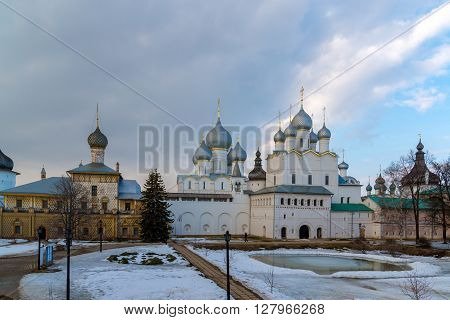 Rostov Veliky, Russia-March 30.2016: panorama ofof the Rostov Kremlin, Golden Ring tourist