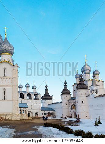 Rostov Veliky, Russia-March 30.2016: Temples of the Rostov Kremlin, Golden Ring tourist