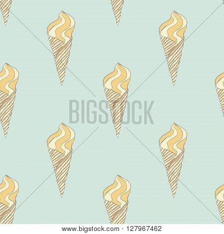 Vintage ice cream pattern. Vector hand drawn ice cream cones texture