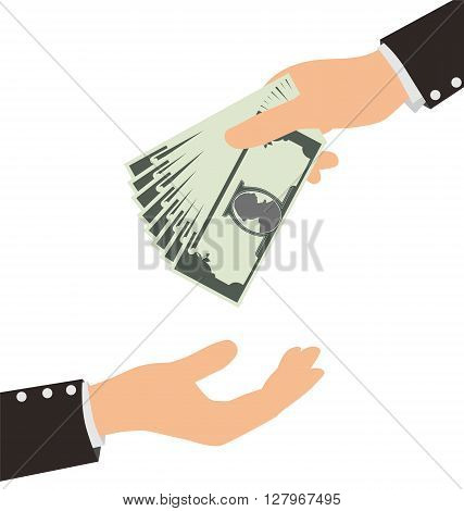 Business Hand Receiving Money Bill From Another Person, Finance Concept