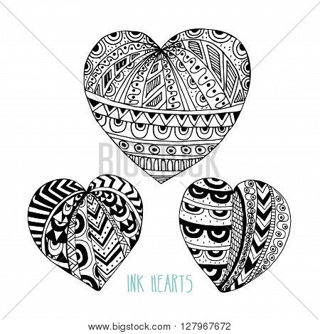 Set of vector decorative ink hearts. Template for greeting cards decorations wedding invitations backgrounds. Doodle hearts