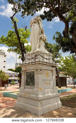 Fort de France-April 28, 2016 :The beheaded statue of Josephine de Beauharnais the wife of Napoleon Bonoparte and the First French Empress was erected in 1859 at La Savane park in Fort de France Martinique.