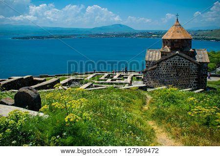 Photo of the Territory Sevanavank monastery on Sevan lake Armenia
