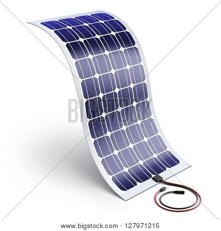 Flexible solar panel on white background - 3D ecological concept