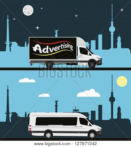 Minivans and trucks on city background. Vector illustration.