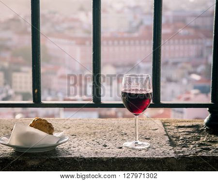 Red wine and mini meat pie in lisbon