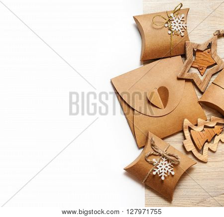 handmade wooden toys and Christmas boxes for gifts of kraft paper.