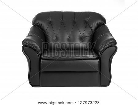 Classic big black leather armchair isolated on white background with clipping path.